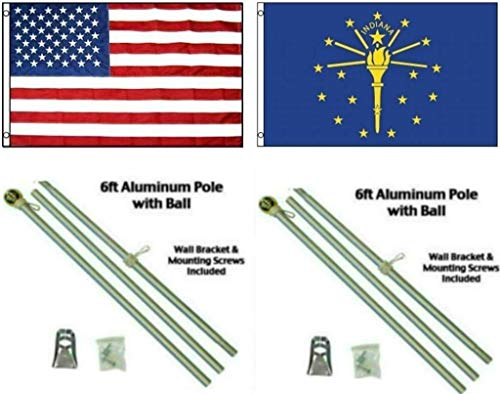 ALBATROS 3 ft x 5 ft USA American with State of Indiana Flag Aluminum Pole Kit Ball Top for Home and Parades, Official Party, All Weather Indoors Outdoors ()