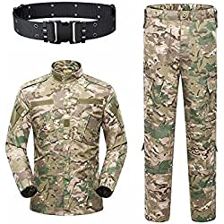 KYhao Military Camo Tactical Suit Men Hunting Combat BDU Uniform Jacket Shirt & Pants Belt Shooting Hunting War Game Army Airsoft Paintball (CP, X-Large)