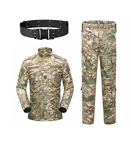 KYhao Military Camo Tactical Suit Men Hunting Combat BDU Uniform Jacket Shirt & Pants with Belt for Shooting Hunting War Game Army Airsoft Paintball (CP, Medium)