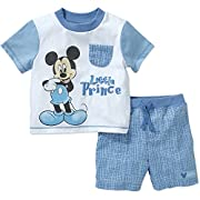 Disney Baby Boys Mickey Mouse Little Prince Tee and Shorts Set (Newborn)
