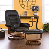 Adjustable Black Leather Recliner and Ottoman , Office Chair