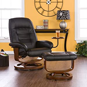 Adjustable Black Leather Recliner and Ottoman  Office Chair & Amazon.com: Adjustable Black Leather Recliner and Ottoman  Office ... islam-shia.org