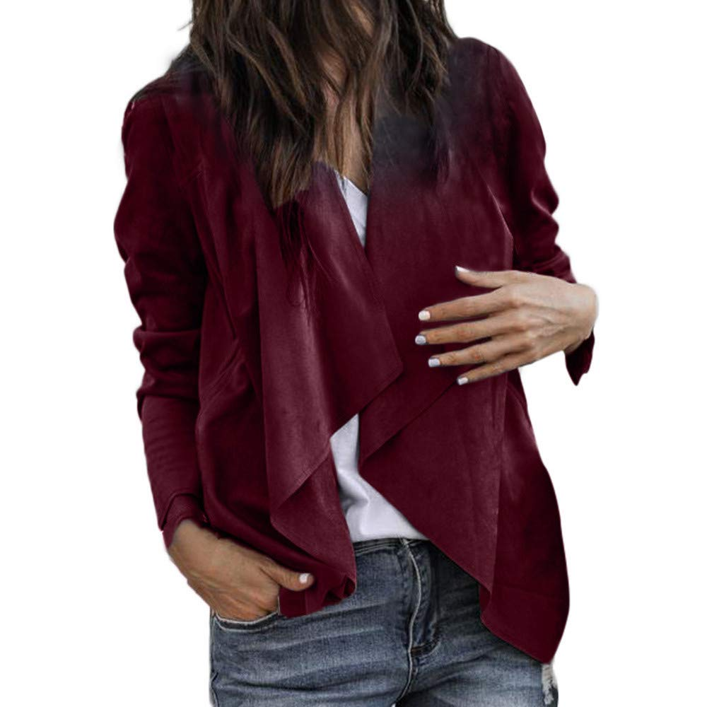 Rovinci_Womens Waterfall Collar Irregular Hem Coat Jacket Hoodie Tops Long Sleeve Faux Suede Leather Solid OL Work Office Cardigan
