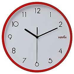 Hippih 10 Silent Quartz Decorative Wall Clock with Glass Cover Non-ticking Digital,2315-G