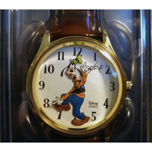 amazon com disney goofy men s watch gold brown leather watches