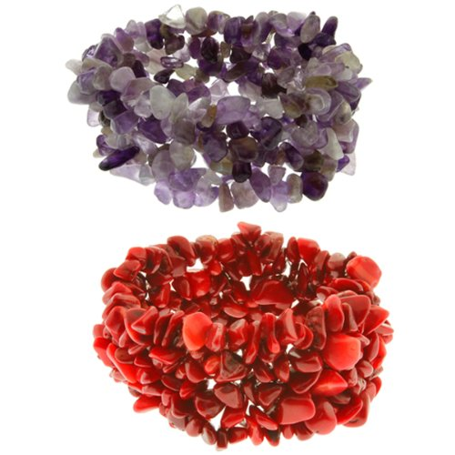 Bracelet Red Coral Chip (Gem Stone King Set of 2 Multi Strands Red Simulated Coral and Amethyst Chips Stretch Bracelet)