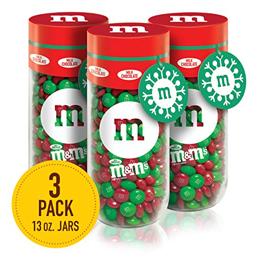 M&M'S Milk Chocolate Christmas Candy Gift, 13 Ounce Jar, Pack of 3 (Christmas Jars Gifts For)