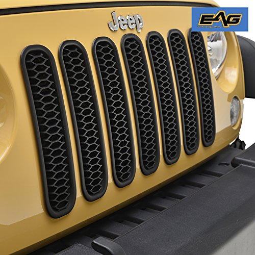EAG Matte Black Honeycomb Mesh Grille Insert for 07-17 Jeep Wrangler JK & Unlimited – 7 Pieces Kit