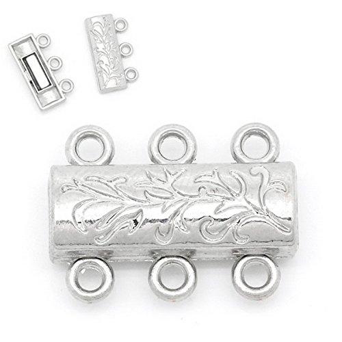 Housweety Bijoux Accessoires -5 Fermoirs Magnetique Aimant 3 Rang Motif Couleur moins brillant 19x14mm
