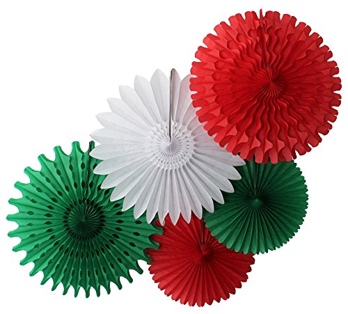 Tissue Paper Fan Collection - 5 Large Assorted Fans (Red White Green Celebration, 18 and 13 inches)