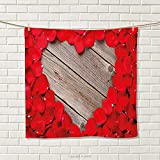smallbeefly Rose Hand Towel Valentines Rose Petals on Wood Planks Forming a Heart Shape Romance Love Passion Quick-Dry Towels Vermilion Cocoa Size: W 20'' x L 28''