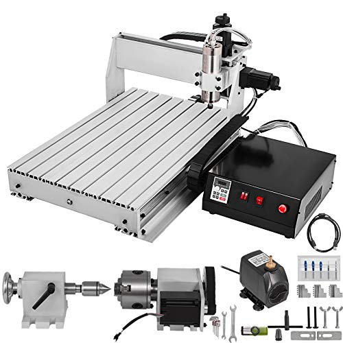 VEVOR CNC Router 6040 4 Axis CNC Router Machine 600x400mm CNC Router Kit 1000W MACH3 Control Large 3D Engraving Machine CNC Router Kit with USB(6040 4 Axis with USB)