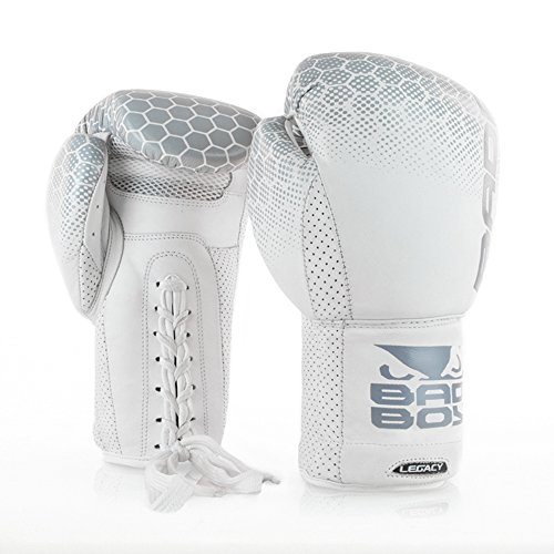Bad Boy Legacy Premium Cowhide Leather Professional Lace Up Boxing Gloves White - 16 oz