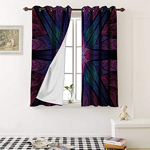 Flyerer Fractal Room Darkening Wide Curtains Psychedelic Colorful Sacred Symmetrical Stained Glass Figure Vibrant Artsy Design Window Curtain Drape W108 x L72 Inch Plum Indigo Atlanta Braves Stained Glass
