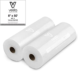 Vesta Vacuum Sealer Bags Rolls | 8x50 2 pack | ideal for Food Saver, Seal a Meal | BPA Free, Heavy Duty | Great for food vac storage or sous vide