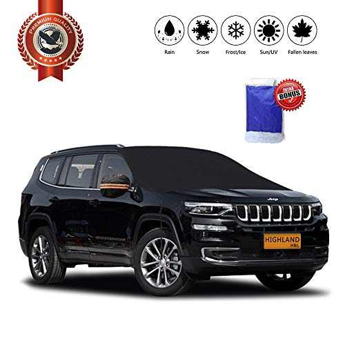 H&L Highland Snow & Ice Winter Weather Car Windshield Cover Ice Removal Wiper Visor Protector All Weather Winter Summer Auto Sun Shade for Trucks Vans and SUVs(Large) ()
