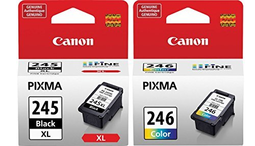 Genuine Canon PG-245 XL High Capacity Black Ink Cartridge (8278B001) + Canon CL-246 Color Ink Cartridge (8281B001) - Black Color Printer Ink