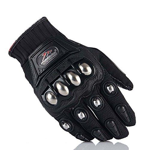 Motorcycle Gloves,Dirt Bike Motocross Motorbike Power Sports Racing Gloves Steel Reinforced Knuckle (Black,L)