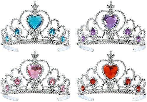 Ideapark 4 Pcs Princess Pretend Play Set, Kids Princess Tiara Crown Wands Set Dress Up Girls Party Play Set Hair Accessories - Crown & Fairy Wands