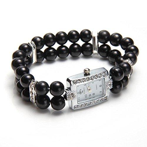 Ecloud Shop Fashion Black beads metal rectangular diamond bracelet watch girl