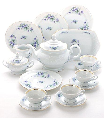 Wawel Tea with Grace 16-Piece Fine China Tea Set for Children (Violet) - Service for Four (Little Girl China Tea Sets)