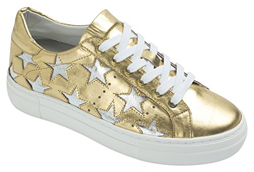 Annakastle Femmes En Cuir Véritable Star Fashion Lace Up Baskets Plate-forme Or