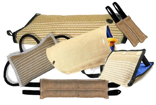 Redline K9 8 Piece K9 Training Kit 1-Large Jute Puppy Sleeve 1-Small Jute Puppy Sleeve 2-4''X24'' 2 Handle Jute Tugs 2-3''X10'' 1 Handle Jute Tugs 1-3 Handle jute Bite Wedge 1-3 Handle Jute Bite Pillow by RedLine K9