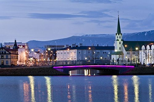 The center of Reykjavik and Tjornin lake, downtown Reykjavik, Iceland. 30x40 photo reprint by PickYourImage
