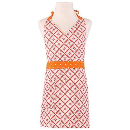 Neoviva Cotton Twill Garden Apron for Kid Girl with Pocket, Checked Floral Orange