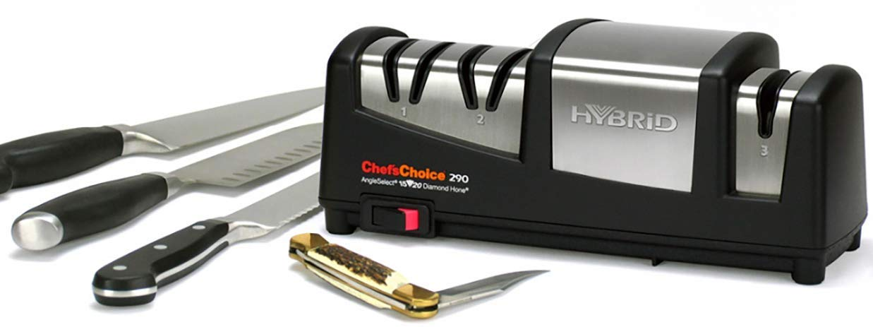 Chef'sChoice 290 AngleSelect Hybrid Diamond Hone Knife Sharpener Combines Electric and Manual Sharpening for Straight and Serrated Knives with Patented Finishing Stage, 3-Stage, Black (Renewed)