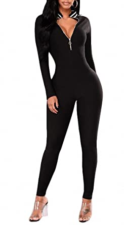 38ec4a586291 Amazon.com  Cutedi Womens Casual Stripe Long Sleeve V Neck Zip Up Bodycon  Jumpsuits and Rompers Unitard Bodysuits  Clothing