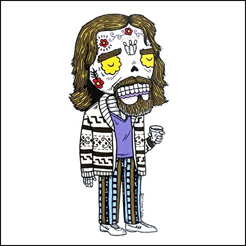 The Big Lebowski Dude Inspired Calavera Die Cut Clear Vinyl Sticker Sugar Skull - Day of the Dead - Weather Proof Decal -