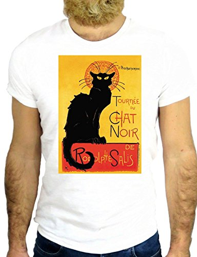 T SHIRT Z0475 LE CHAT NOIR PARIS FRANCE COOL DANCE BALLET NICE COOL EUROPE GGG24 BIANCA - WHITE M