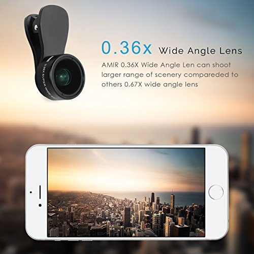 AMIR Phone Camera Lens, 180° Fisheye Lens + 25X Macro Lens + 0.36X Wide Angle Lens, Clip-On 3 IN 1 Cell Phone Camera Lens for iPhone 7/8 / X / 7 PLUS / 6, Samsung, Other Smartphones by AMIR (Image #4)