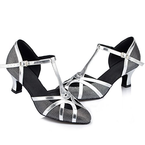 Women's Tango W523 Latin Chunky Dance Heel Black Salsa Shoesland Round Ballroom Shoes Toe Dance SZCnx