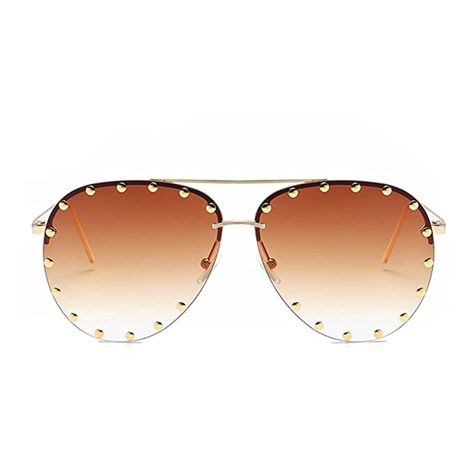 90a8373f98ce2 Image Unavailable. Image not available for. Color  Fashion Culture Unisex  Affair Studded Aviator Sunglasses ...