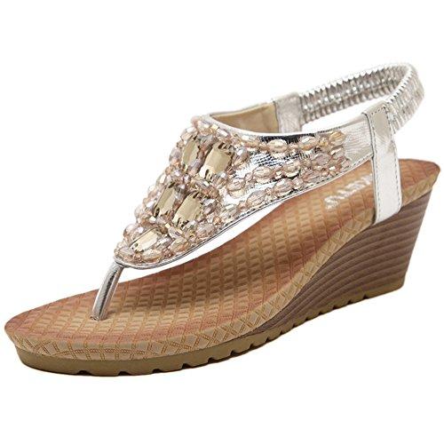 YOUJIA Damen Sandalen mit Keilabsatz Dianetten Strandschuh Zehentrenner Böhmen Sandaletten Wedges Silber