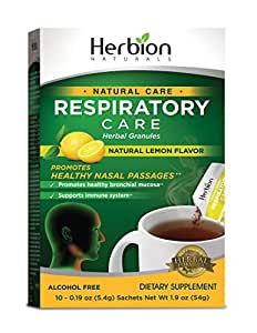 Herbion Naturals Respiratory Care Granules with Natural Lemon Flavor, 10 Count Sachet - Help Relieve Cold and Flu Symptoms, Promote Healthy Respiratory Function, Optimize Immune System