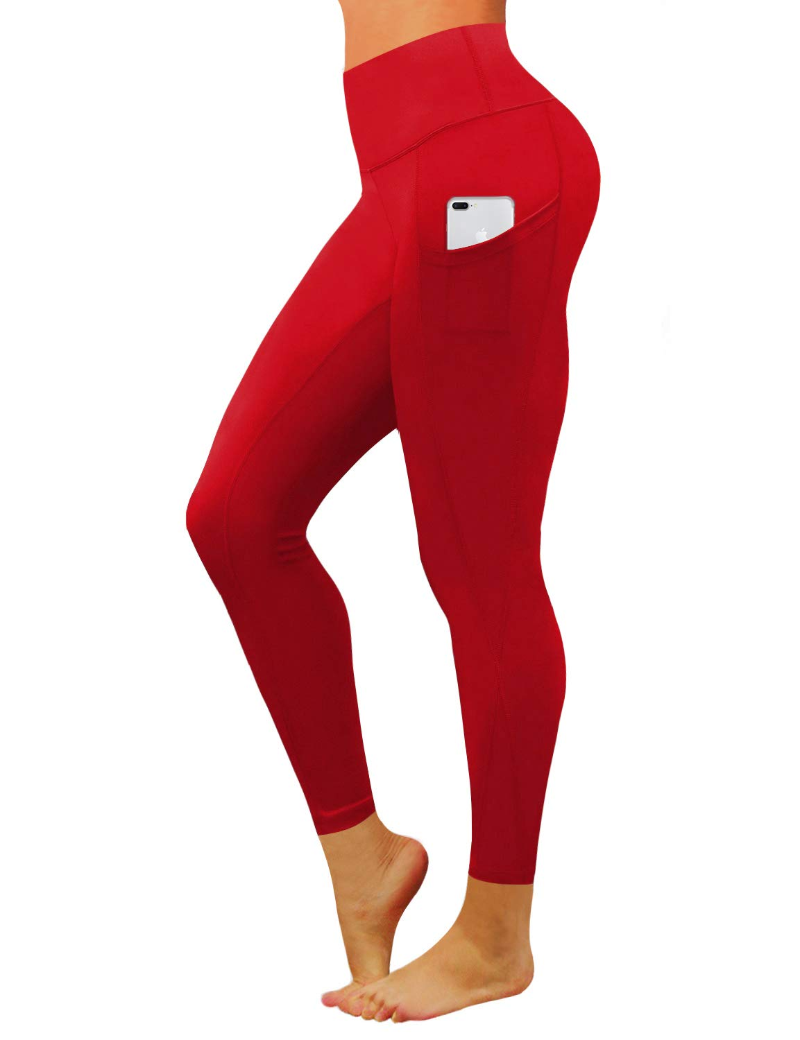 BUBBLELIME High Compression Yoga Pants Out Pocket Running Pants Power Flex Nylon Span Moisture Wicking UPF30+, Bwwb010 Scarlet, X-Small
