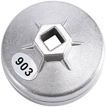 74 mm 14 flauta del filtro de aceite de aluminio llave herramienta Socket Remover 903 plata color