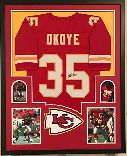 Christian Okoye Autographed Signed Custom Framed Kansas City Chiefs Jersey 1 Memorabilia - JSA Authentic 1 Kansas City Chiefs Framed