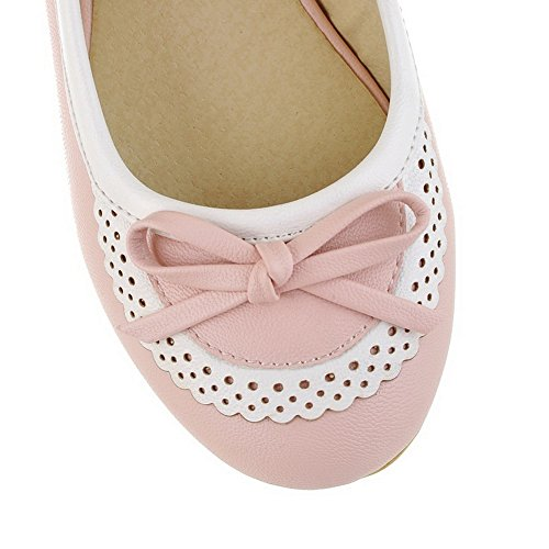 Toe Low On Round AmoonyFashion Shoes Pumps Solid Pull PU Womens Pink Heels qpq8XTx