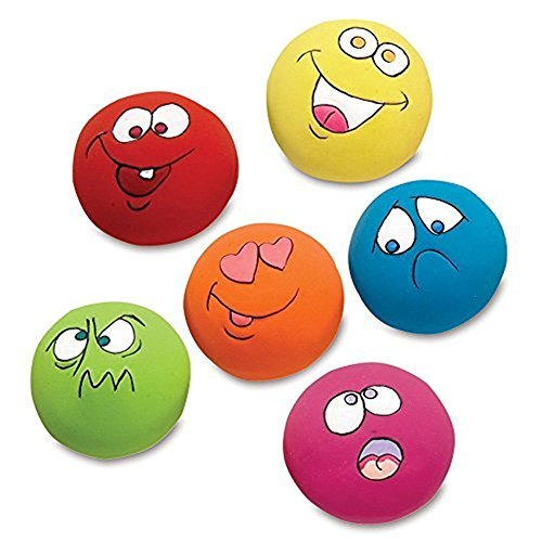 FTXJ 6PCS Puppy Dog Toys Chewing Squeaky Toy for Pet Dog with Sound Squeaker Squeaky Ball With Face Fetch Toy (3.255.253.25cm, Random) (Zanies Latex)