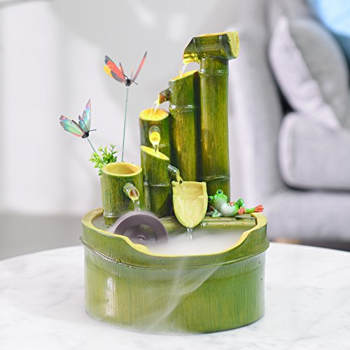 Lucky Bamboo Water Fountain Wheel Humidifier Living Room