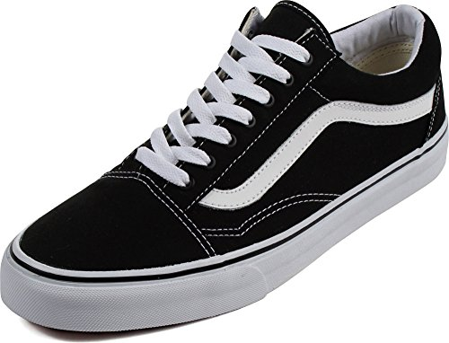 9b982d78b9 Vans Unisex Old Skool Black True White Skate Shoe 8 Men US   9.5 Women