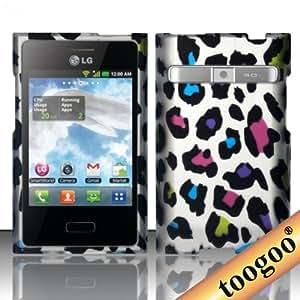 TOOGOO(R) Funda Revestida de Goma para LG Optimus Logic L35g / Dynamic L38c (Straight Talk/Net10) - Leopardo Multicolor