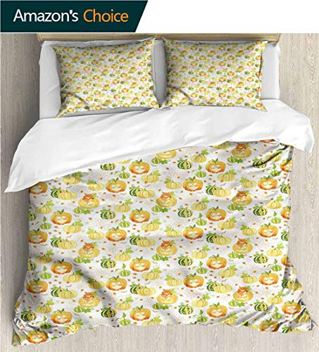 carmaxs-home 3 Pcs King Size Comforter Set,Box Stitched,Soft,Breathable,Hypoallergenic,Fade Resistant with 2 Pillowcase for Kids Bedding-Pumpkin Ornate Spider Web Halloween (79