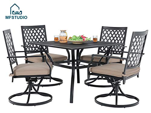 MF STUDIO 5 Piece Black Metal Outdoor Patio Dining Bistro Set with 4 Swivel Chairs and Steel Frame Slat Larger Square Table, 37″ Table and 4 Backyard Garden Chairs Outdoor Furniture Set, Black