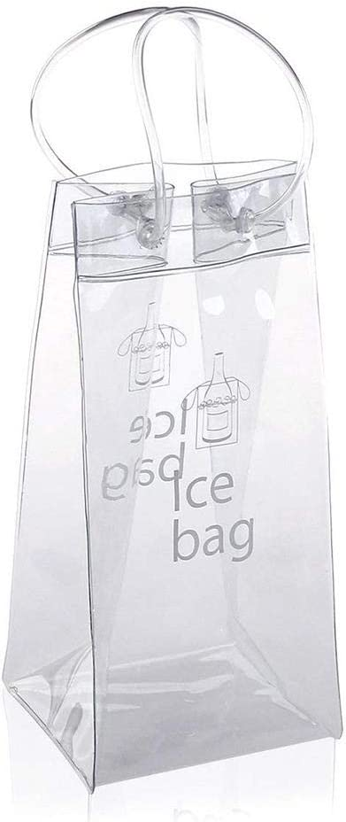 Hearthrousy Ice Bag Wine Cooler Champagne Cooler Bag Bottle 2PCS PVC Leakproof Environmentally Friendly Transparent Pack Portable Bucket Chiller With Carry Handle