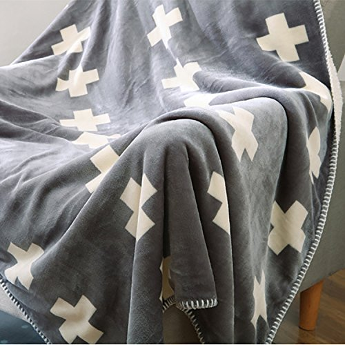 Discount karever Bed Throw Blankets Sherpa Blanket Throws for Couch Soft Heavy Weight Warm Reversible Gray Plus Sign Full Size Queen Size Blanket free shipping